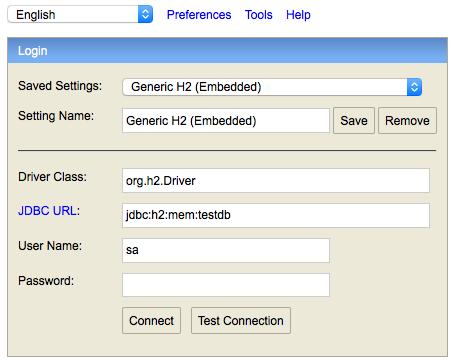 h2 database console logon screen