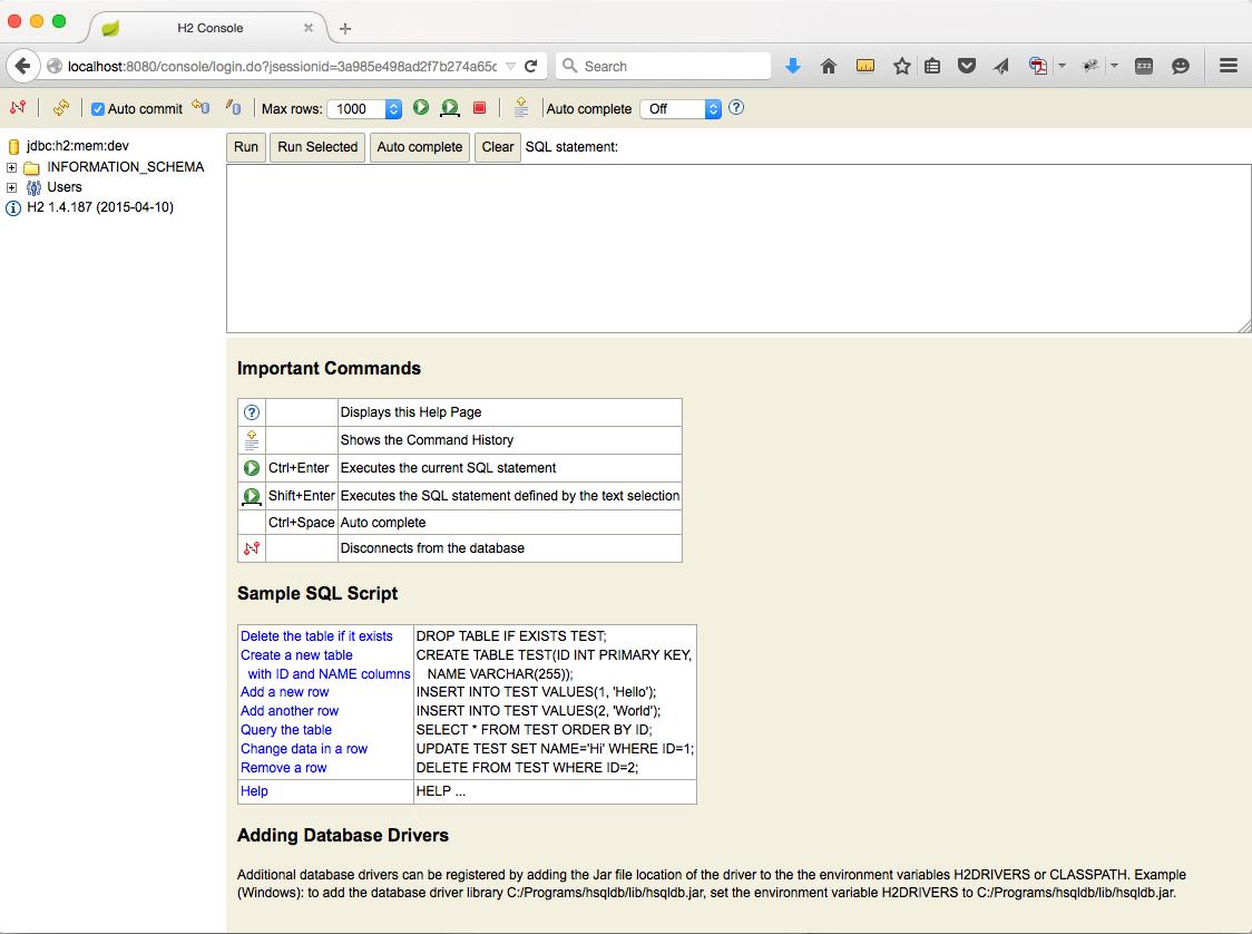 h2 database console