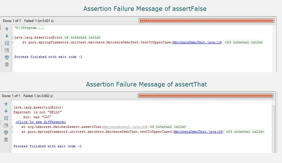 JUnit Assertion Failure Messages for assertFalse and assertThat