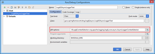 Setting Log4jContextSelector