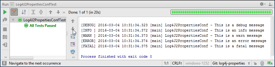Log4J 2 Messages in InteliJ Console