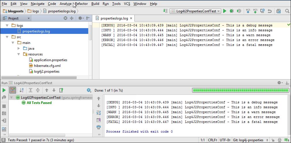 Log4J 2 Output in IntelliJ
