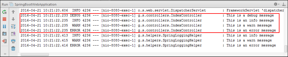 Logging Output with Spring Profile