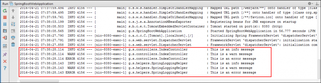 Logging Output with Default Configuration in Spring Boot