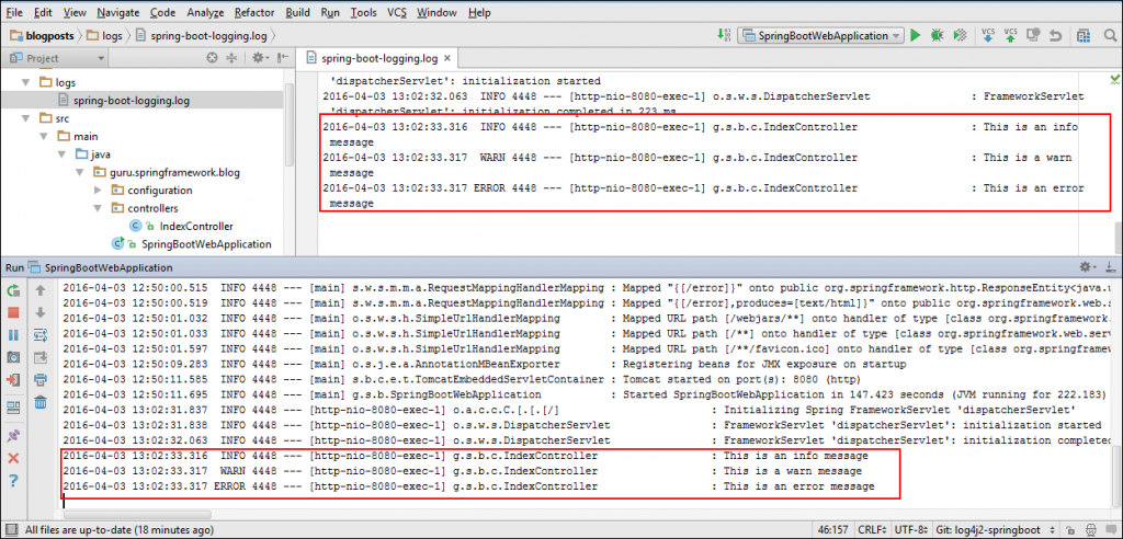Application Log Messages in Console and File from Log4J 2