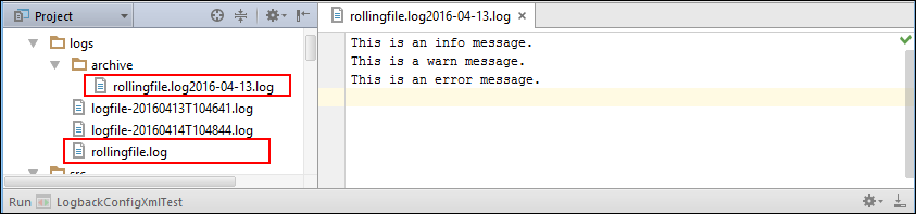 Rolling File Appender Output from Logback