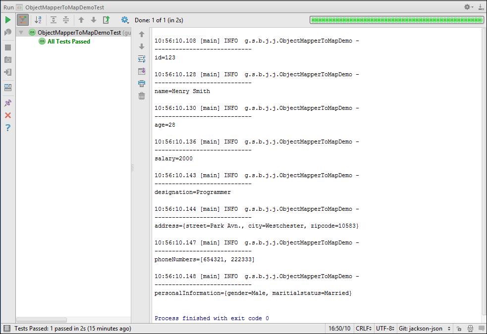Output of ObjectMapperToMapDemo