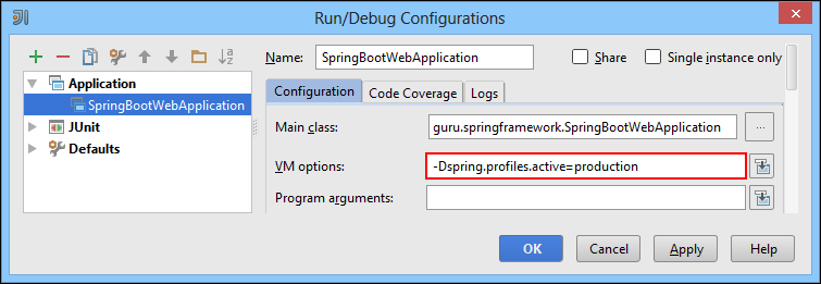 Run Debug Configurations Window