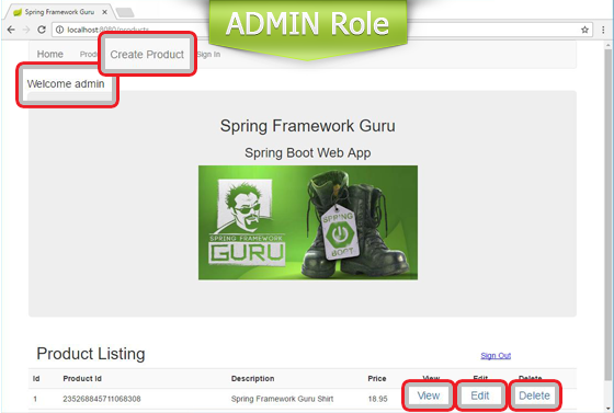 Home Page View for ADMIN Role