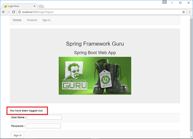 Spring Security Log Out Message