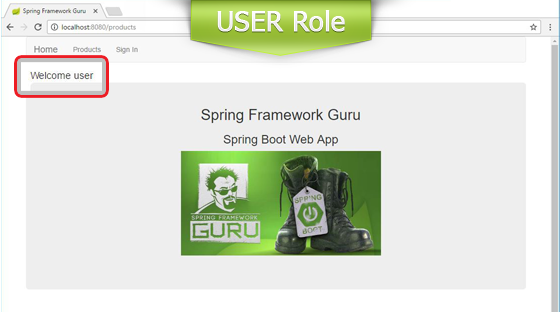 Home Page View for USER Role