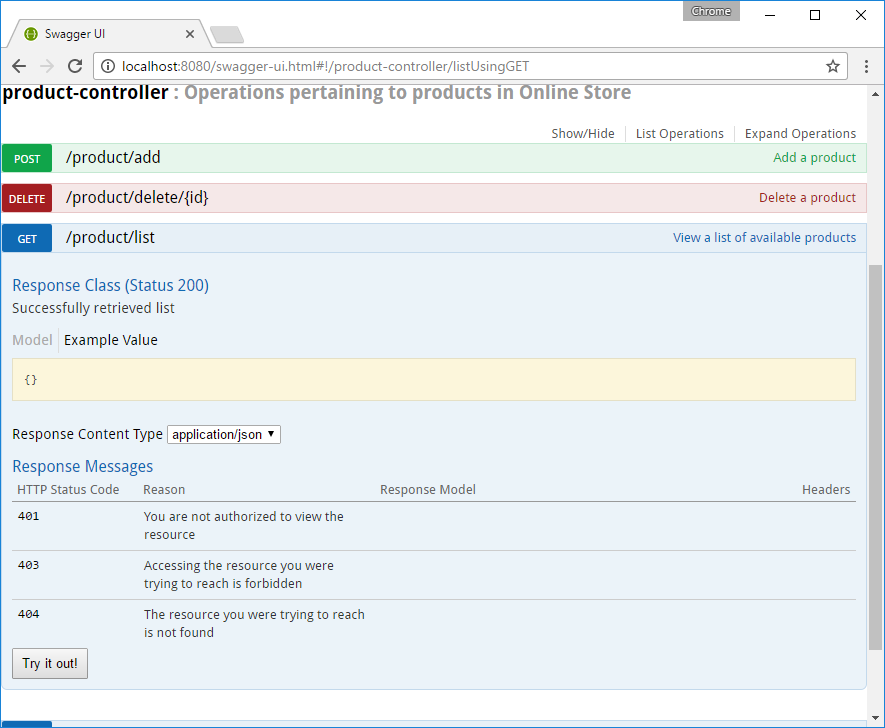 Swagger generated endpoint and response code documentation