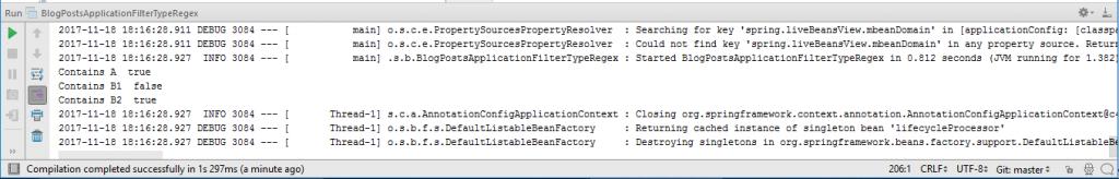 Output of BlogPostsApplicationFilterTypeRegex.java Class