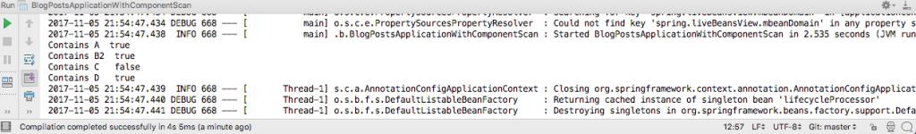 Output of BlogPostsApplicationWithComponentScan.java Class