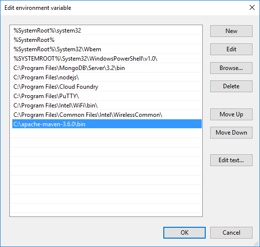Edit Environment Variables Dialog Box