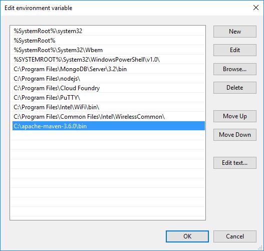 Edit Environment Variables Dialog Box