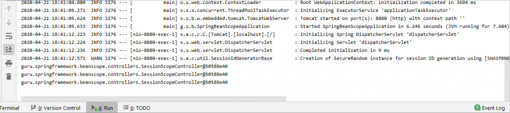 output of running the application on the IntelliJ console