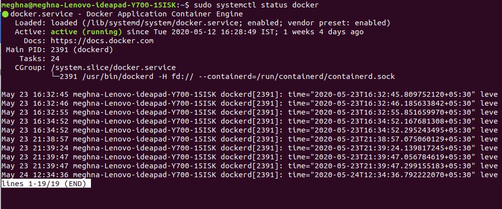Status of Docker