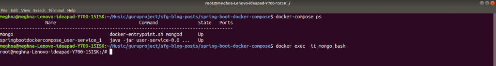 Container bash
