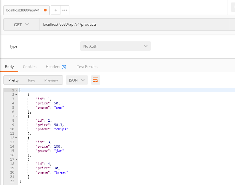 output for get all products