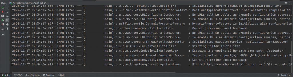 API Gateway Service Running