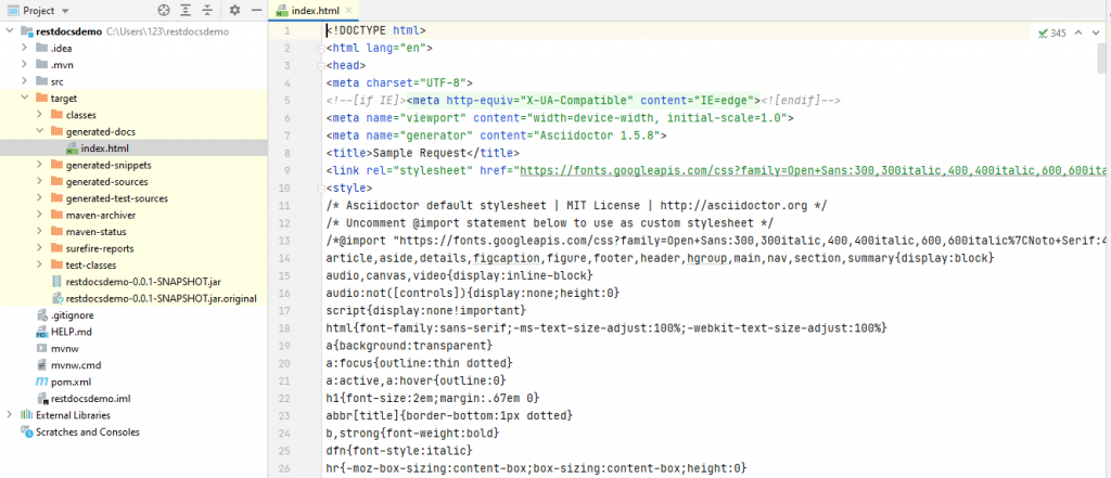 Output of generated index.html file