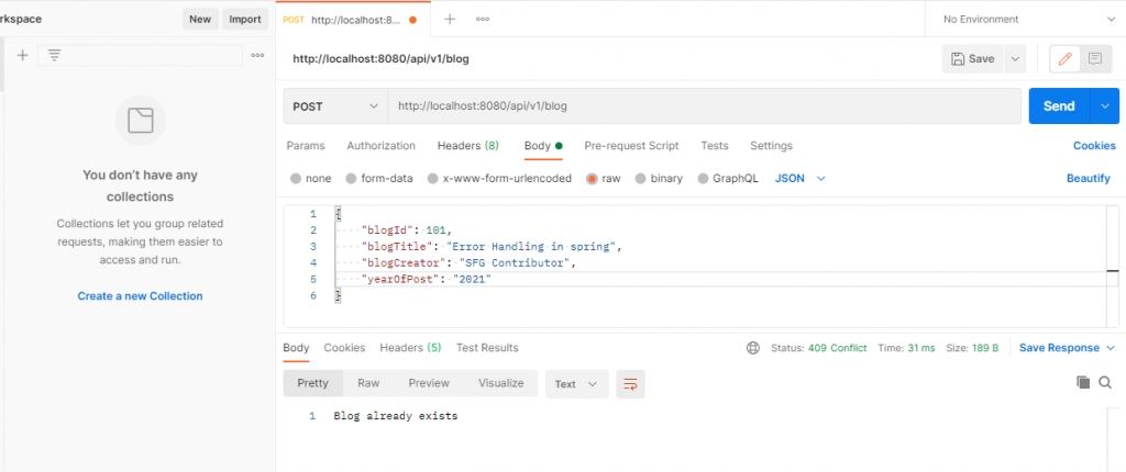 @Exception Handler output for Blog already exists exception