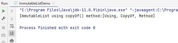 using copyOf method
